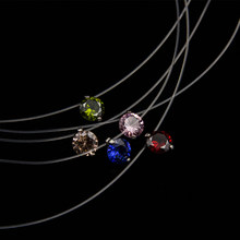 Poputton Female Transparent Fishing Line Necklace Women Rhinestone Choker Invisible Chain Pendant Necklace Collier Femme Jewelry(China)
