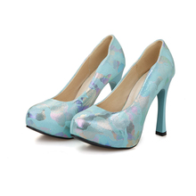 Big size 30 – 50 New 2016 fashion spring / autumn senior PU leather women shoes sexy Round Toe Slip-On Party High heels HQW-678