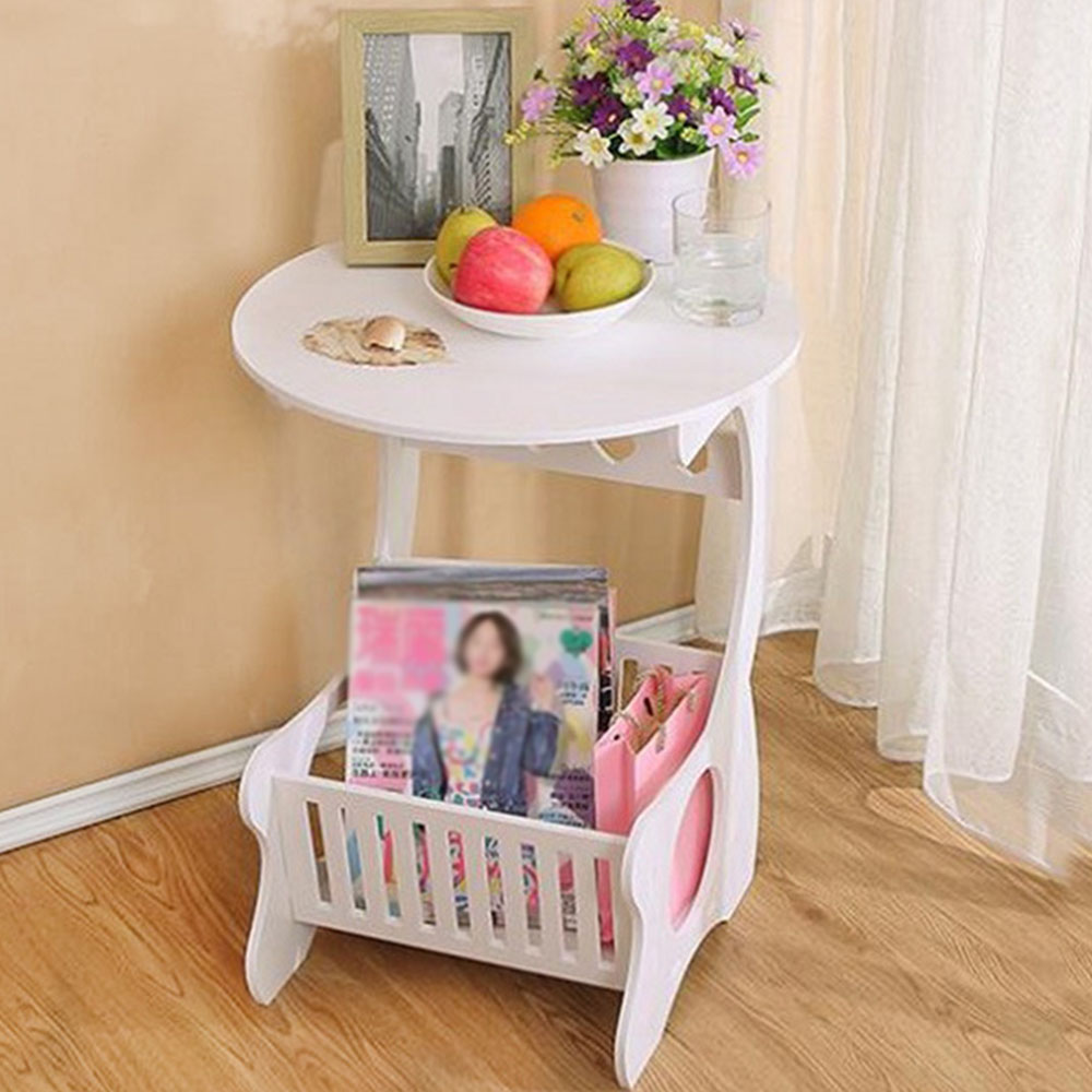 Estante de almacenamiento de madera multifunción, mesa de café, mesa de té, escritorio, almacenamiento de revistas, mesa, hueco tallado    -