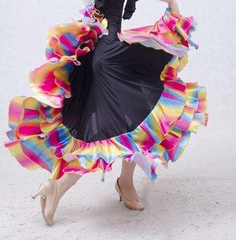 NEW!  ice silk ballroom dance skirt women colors dege long skirts belly dance competition skirt S-6XL free to make