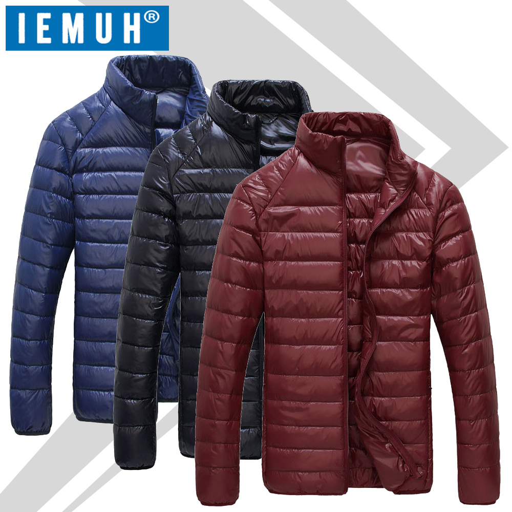 IEMUH Brand White Duck Down Jacket Men Casual Autumn Winter Warm Coat Mens Ultralight Duck Down Jacket Male Windproof Parka 4XL