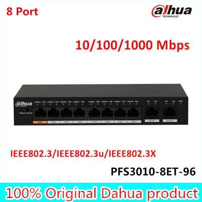 Versione Esportazione originale Dahua 8 Porte Fast Ethernet Switch PoE 10/100/1000 Mbps PFS3010-8ET-96 Supporta MDI/MDIX DC 48-57 V