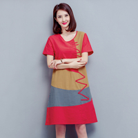 2017 Summer Fashion Patchwork Dress Women Red Cotton And Linen Dresses White Short Sleeves Plus Size