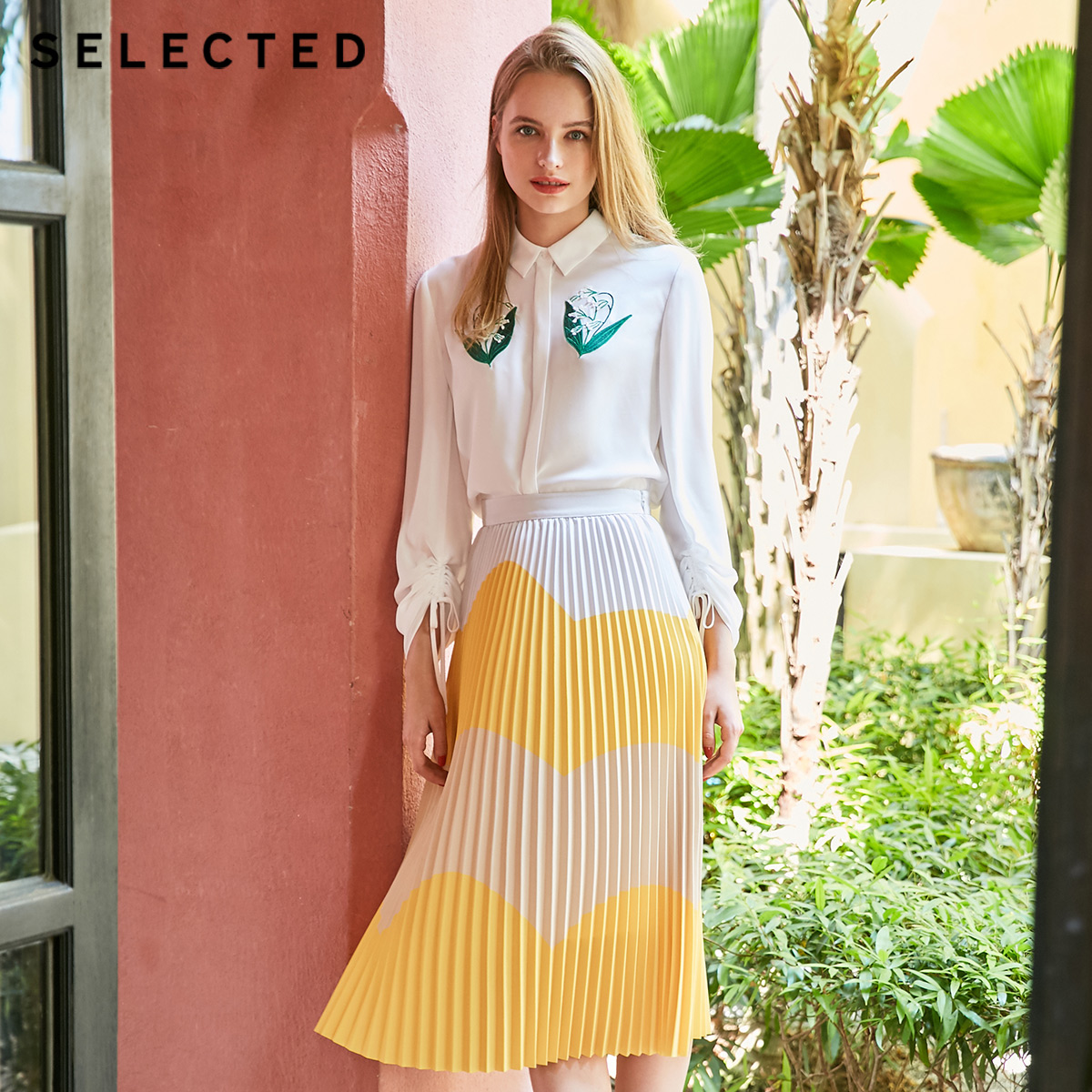 SELECTED Summer Assorted Colors Pleated Midi Dress S 41924C514