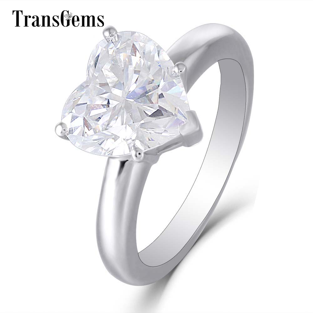 Transgems Heart Shaped Moissanite Engagement Ring 14K 585 White Gold Center 3ct Carats 9X9mm FG Color for Women Wedding Jewelry 3ct moissanite two tones emgagement ring 14k 585 white gold and yellow gold 9mm diameter f color wedding ring for women