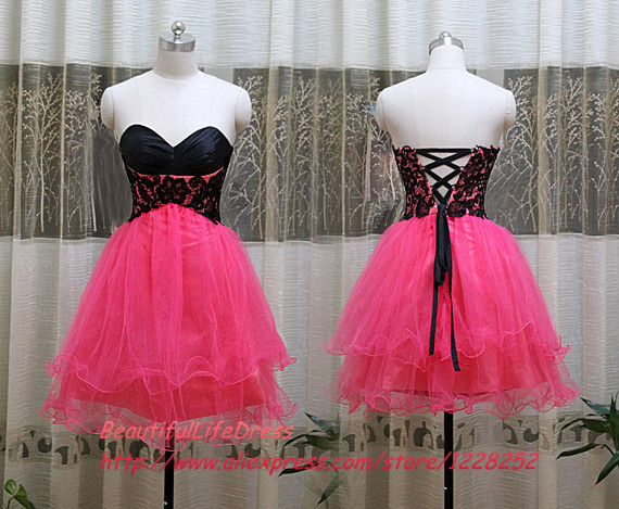 Cheap Hot Pink Prom Dresses Beaded Black Appliques Sweetheart A Line