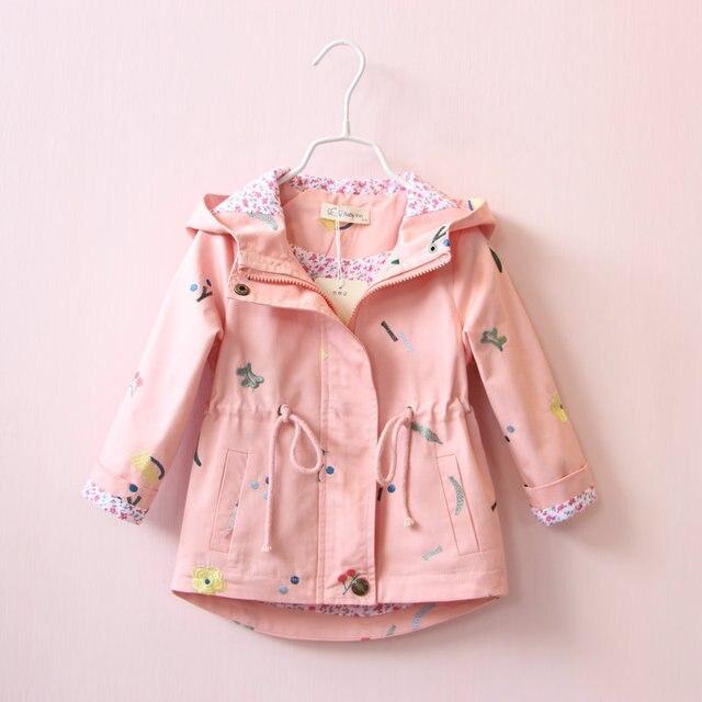 Новинка 2017 года, стильное весна-осень верхняя одежда для девочек Куртки детей малыша хлопка Повседневный пиджак Детская одежда для маленьких девочек куртка с капюшоном