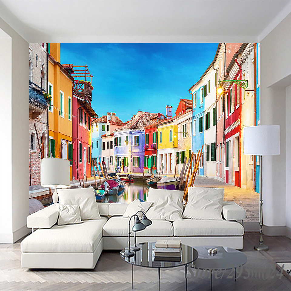 Custom 3D Wallpaper Oil Painting Town Mural Modern wall paper for home decor Wall papers oil printed for Living Room Bedroom large mural living room paper bedroom study 3d wallpaper blue sky children room decoration painting page 3