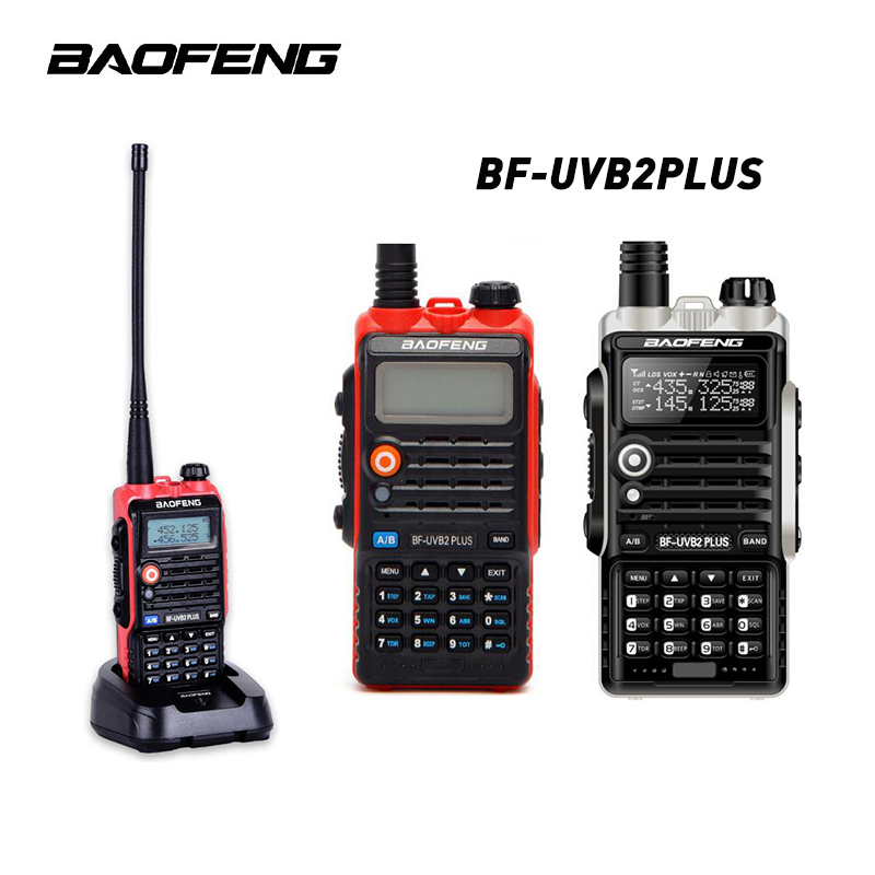 2PCS Baofeng BF-UVB2 Plus 8W High Power 7.4V 4800mAh Li-ion Battery LED Two Way Radio Walkie Talkie Dual Band UVB2 With Earphone