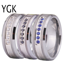 Women Wedding Band Ring Engagement Rings Silver Tungsten Rings with White/Black/Blue Stone Comfort Fit design CLASSIC Jewelry недорого