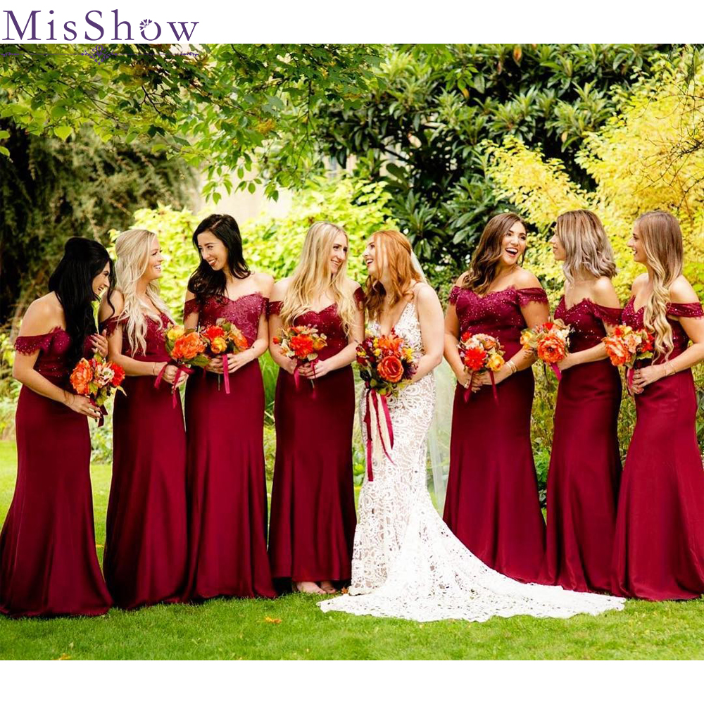 [Custom-made]   Bridesmaid     Dresses   2019 Off the Shoulder Sweetheart Backless Wedding Guest Maid Of Honor Long   Dress   Party Women