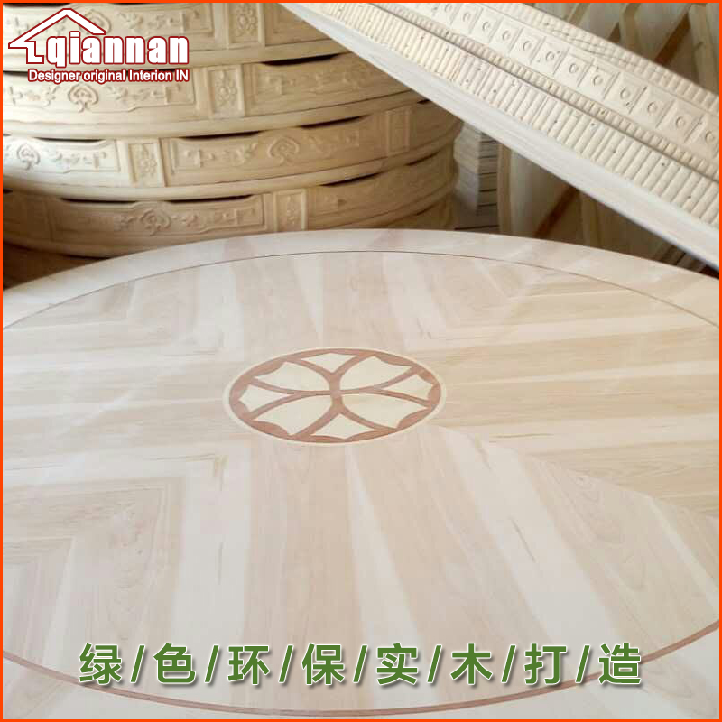 Decorative Pattern 800MM 32INCH OD Solid Oak Wood Quiet Smooth