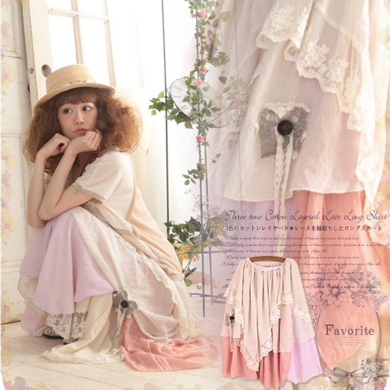Spring Summer Mori Girl Pleated Skirt Women Clothing Sweet Muti Lace Layer Knitting Cotton Asymmetrical Female Lovely Skirt A210