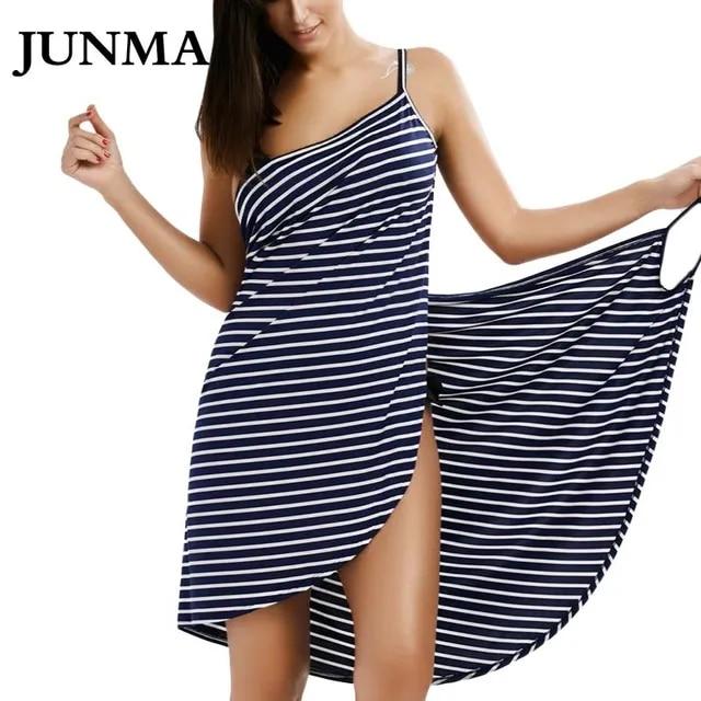 Sexy Backless Women Summer Striped Dress V-neck Swimsuit Bathing Suit Cover Ups Beach Wear Tunic kaftan Swimwear Dresses
