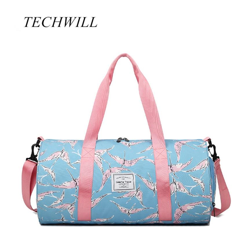 Flower Print Designer Waterproof Mulitifunctional Outdoor Gym Women Bag Large Sport Fitness Bag with Independent Shoes Pocket