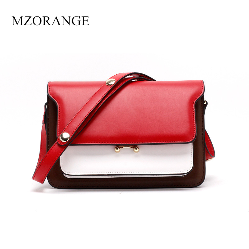 MZORANGE New 2018 Genuine Leather Women Flap Bags Mini Panelled Shoulder Bag Handbag Fashion Organ Small Bag Lady Messenger Bag проточный фильтр для железистой воды под мойку гейзер 3 к люкс 18021