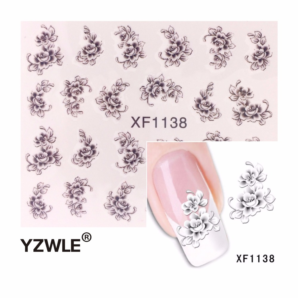 YZWLE Hot Sale  Water Transfer Nail Art Stickers Decal Elegant Light Blue Peony Flowers Design French Manicure Tools yzwle 3d french style white lace bow nail art sticker decal manicure tip nail art decoration xf ju079