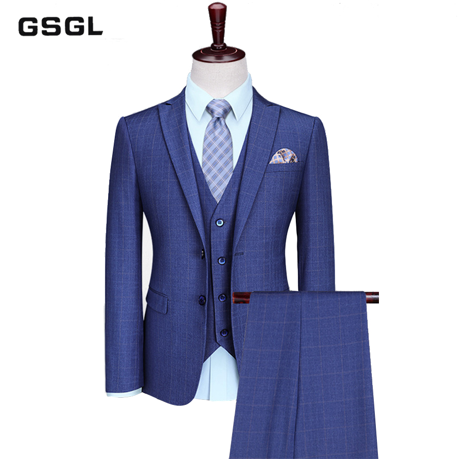 Mens 3 Piece Classic Tweed Check Plaid Blue Slim Fit Vintage Suit Casual Business Wedding Groom Suits