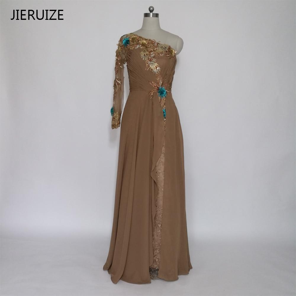 US $12.12 12% OFFJIERUIZE Braun Spitze Eine Schulter Meerjungfrau Lange  Abendkleider One Long Sleeve Formale Kleider Abendkleider Dubai Arabisch