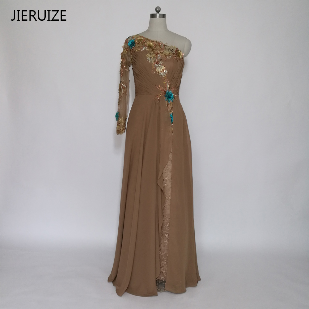 JIERUIZE Brown Lace One Shoulder Mermaid Long Evening Dresses One Long Sleeve Formal Dresses Evening Gowns Dubai Arabic Dress