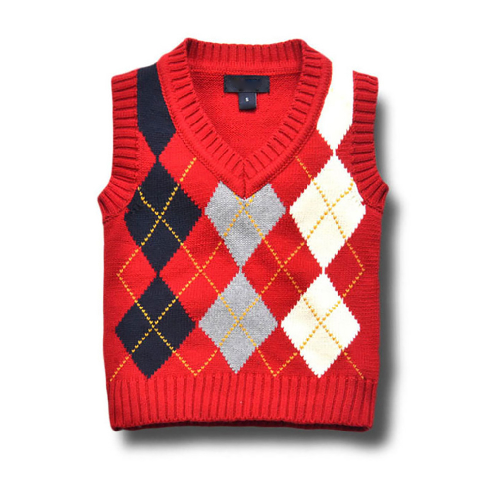 все цены на YY-B917 Autumn Winter Kids Geometric Patterns Sweater Vest Boys Girls Sweater Kids Knitted Pullovers Vest Kids 2-8T Warm Sweater онлайн