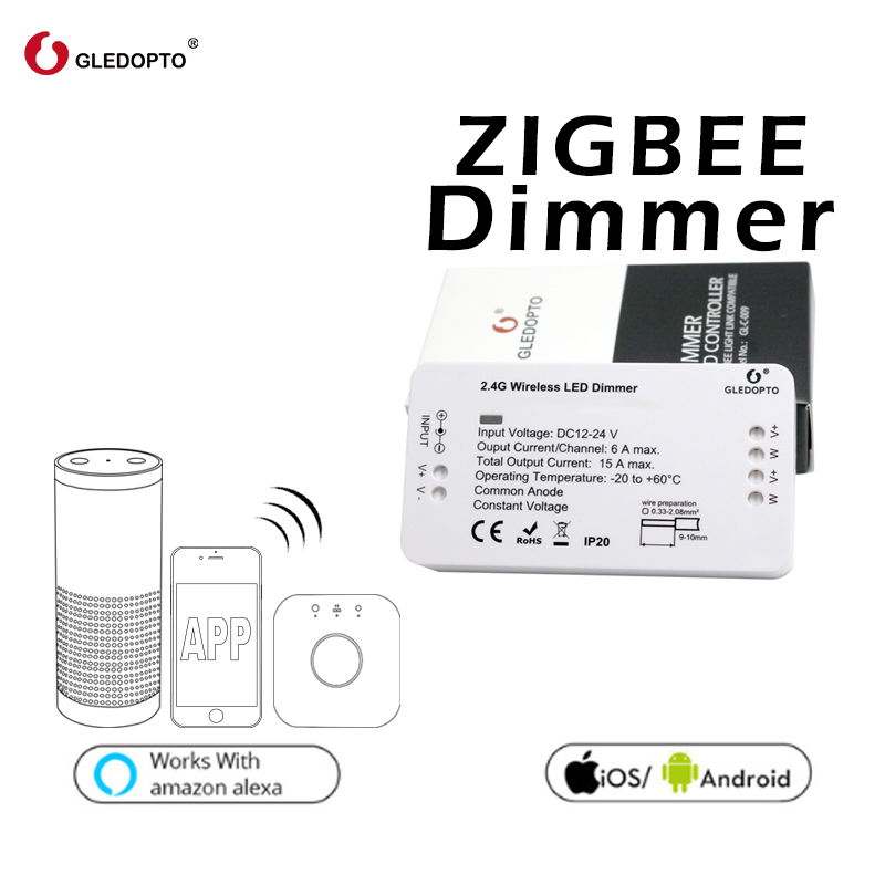 GLEDOPTO ZIGBEE bridge Led Controller ww/cw dimmer strip Controller DC12/24V zll standard led zigbee bridge led controller cw ww dimmer strip controller dc 12v 24v zll standard app controlled led zigbee led dimmer