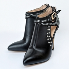 2017 New Plus Big Size 34-43 Black Buckle Crystal Fashion Sexy High Heel Spring Autumn Girl Lady Female Ankle Womens Boots X1631
