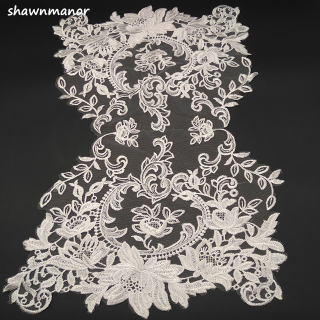 1PC Cotton Thread Embroidered Lace Fabric Off White Color Lace Trim For DIY  Sewing Wedding Dress 0ef429ffb888