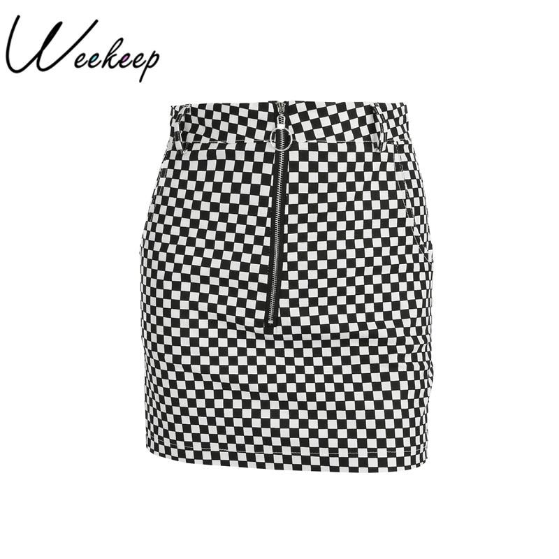 Weekeep Women Sexy A-line Checkerboard Skirt High Waist Plaid Print Reversible Two Wear Short Streetwear Skirts