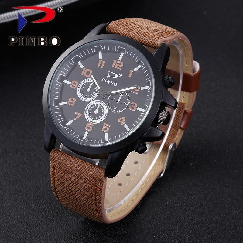 PINBO कैजुअल क्वार्ट्ज घड़ी पुरुष महिला सैन्य घड़ियाँ खेल कलाई घड़ी चमड़ा घड़ी फैशन क्वार्ट्ज घड़ी Relogio Masculino