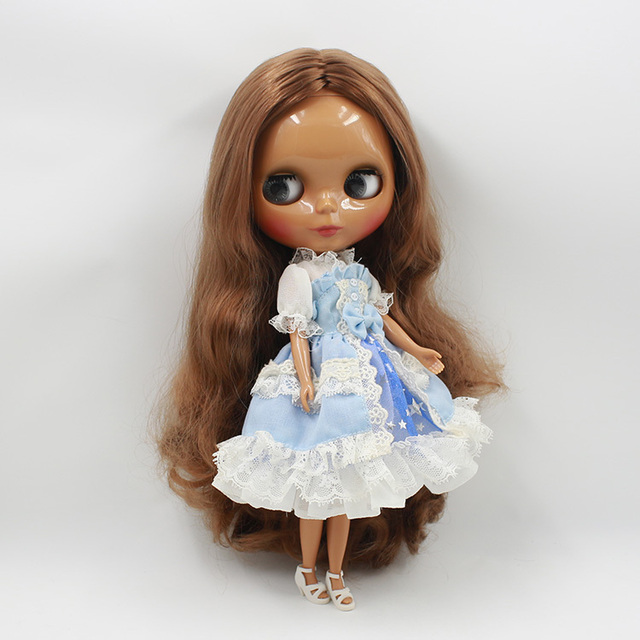 ICY Neo Blythe Doll Brown Hair Black Skin Regular Body