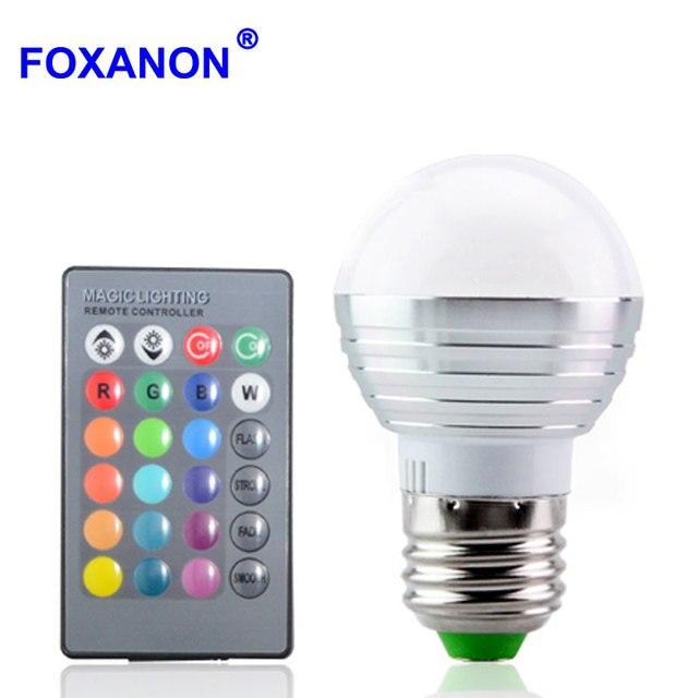 Foxanon E27 RGB LED Lamba 16 Renk Değiştirme 85-265 V Sihirli Işık Dim RGB Ampul + 24key IR uzaktan Kumanda aydınlatma