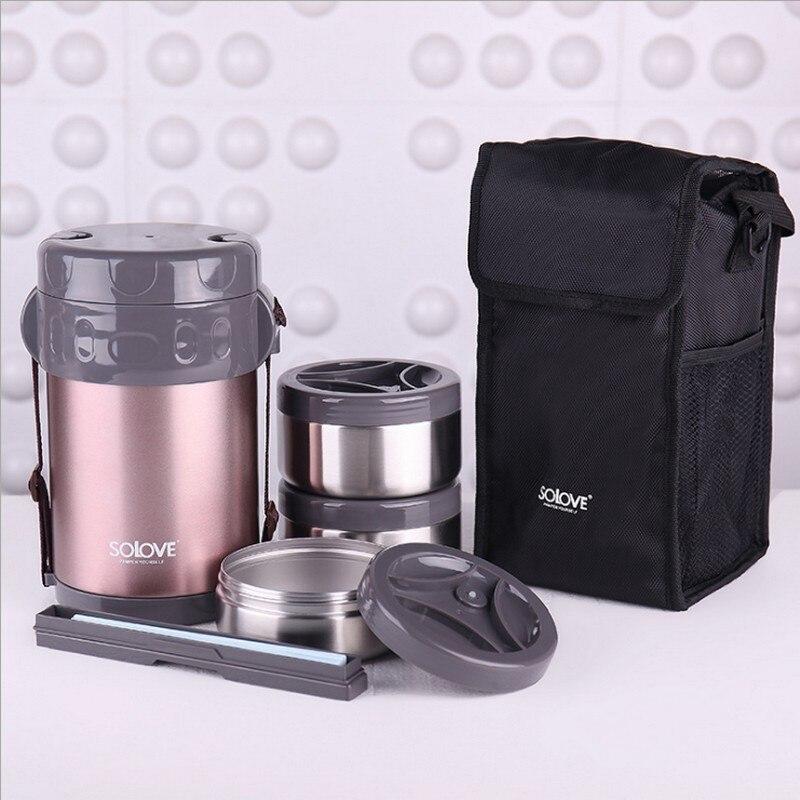 2L Acciaio Inossidabile di Alta Qualità Giapponese Thermo Lunch Box w/Isolato Lunch Cooler Bag Vuoto Contenitore di Alimento Contenitore di Alimento Lunchbox