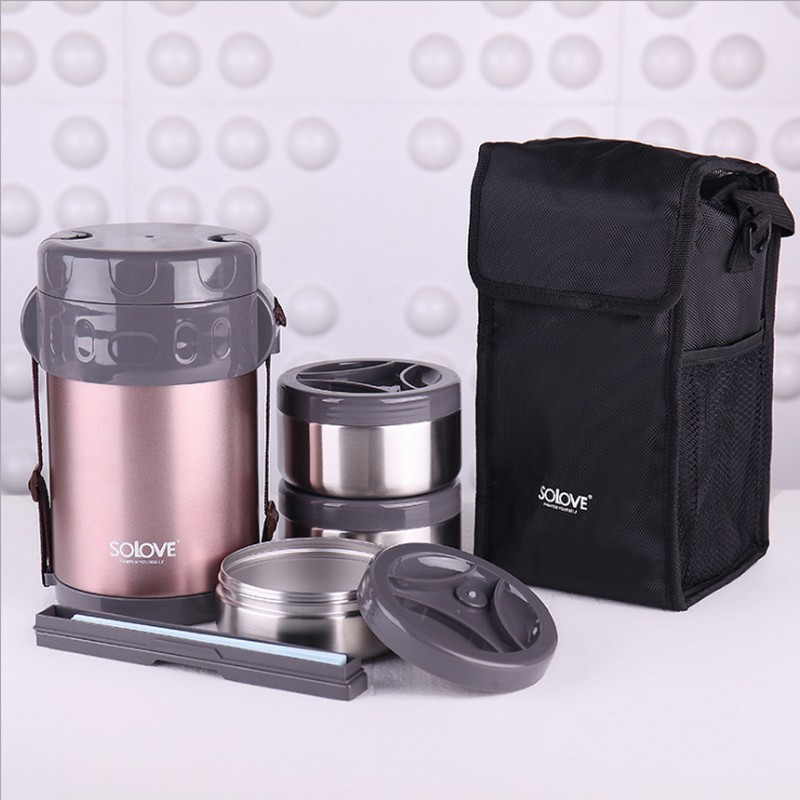 2L Haute Qualité En Acier Inoxydable Japonais Thermo Lunch Box w/Insulated Lunch Cooler Sac Vide Alimentaire Contenant Alimentaire Boîte boîte à lunch