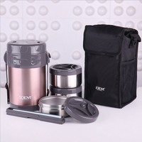 2L High Quality Stainless Steel Japanese Thermo Lunch Box w/ Insulated Lunch Cooler Bag Vacuum Food Container Food Box Lunchbox