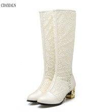 CDAXIALN สินค้าใหม่รองเท้าผู้หญิงเข่า รองเท้าบูทสูงสุภาพสตรีฤดูร้อน Breathable ลูกไม้รองเท้าสแควร์รองเท้าส้นสูงกลางรองเท้าซิปด้านหลัง