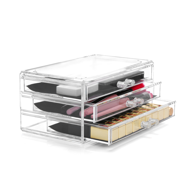 clair acrylique cosm tique organisateur 3 tiroir bijoux maquillage organisateur bo te de. Black Bedroom Furniture Sets. Home Design Ideas