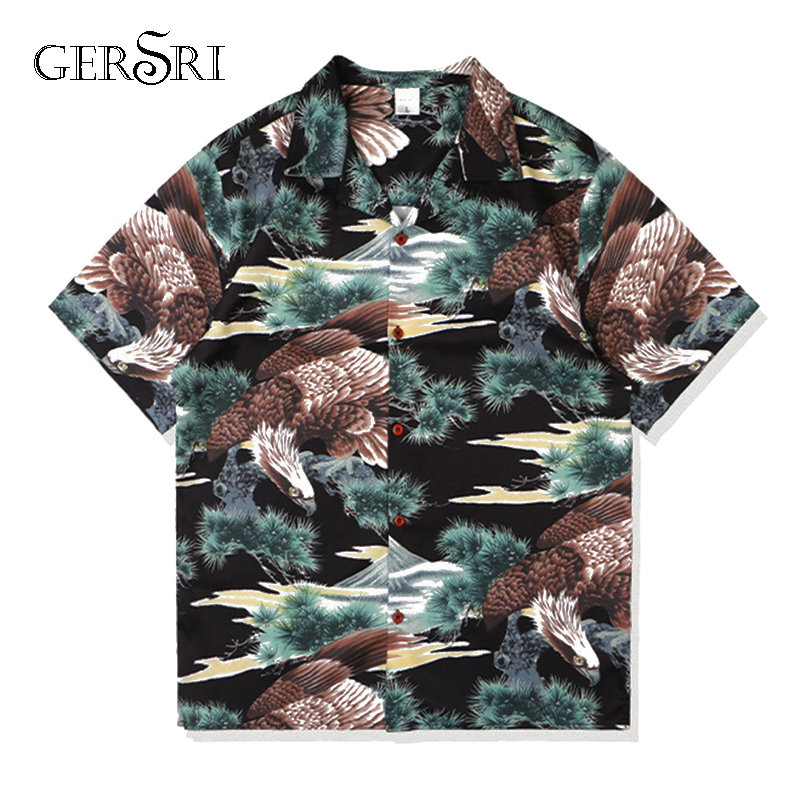 Gersri Summer Men Hawaiian Print Short Eagle Beach Quick Dry Male Top Turn-down Collar Short Casual Shirts Daily Tops Big Size