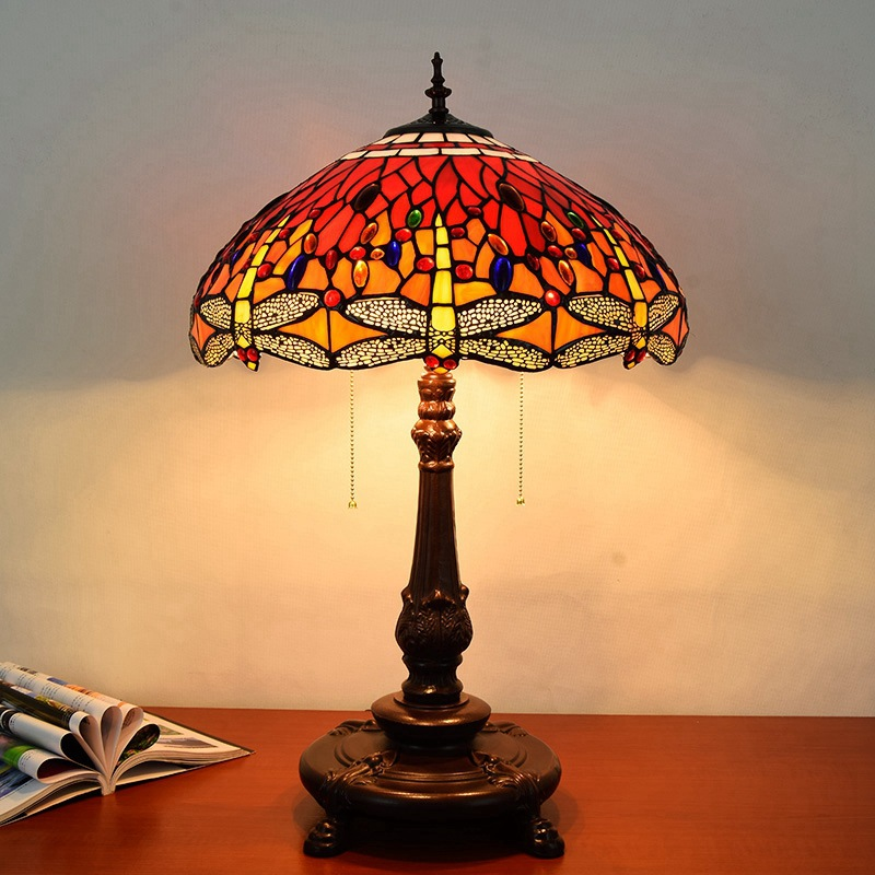 45CM European Retro Tiffany Red Dragonfly Table Lamp