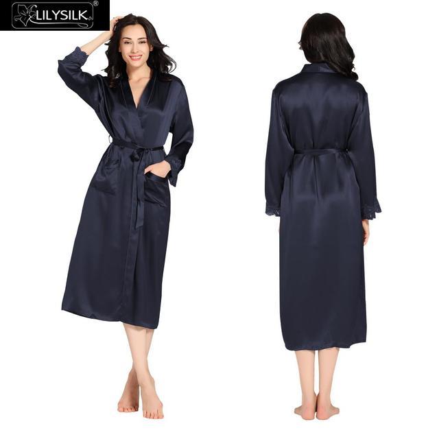 Lilysilk Robe Feminino Casa Mulheres de Seda Longo Da Dama de honra Vestidos de 22 momme Quimono Roupão Azul Marinho Lace Cuff Desgaste Da Noite de Luxo marca