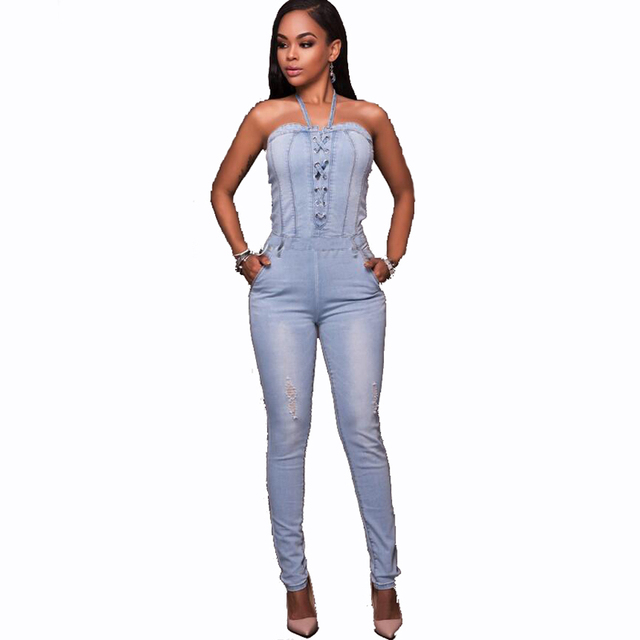 1b156e4cfe Summer Sexy Halter Women Jumpsuit Fashion Full Length Jean Jumpsuit For  Women 2017 New Backless Ladies