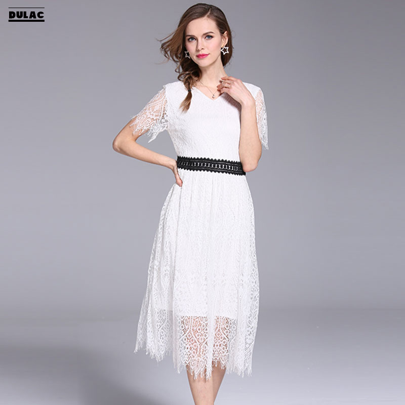 2018 Summer Europe Women Fashion V-Neck Short Sleeved Sexy Elegant Retro Noble Dinner Party Lady Pendulum White Lace Long Dress