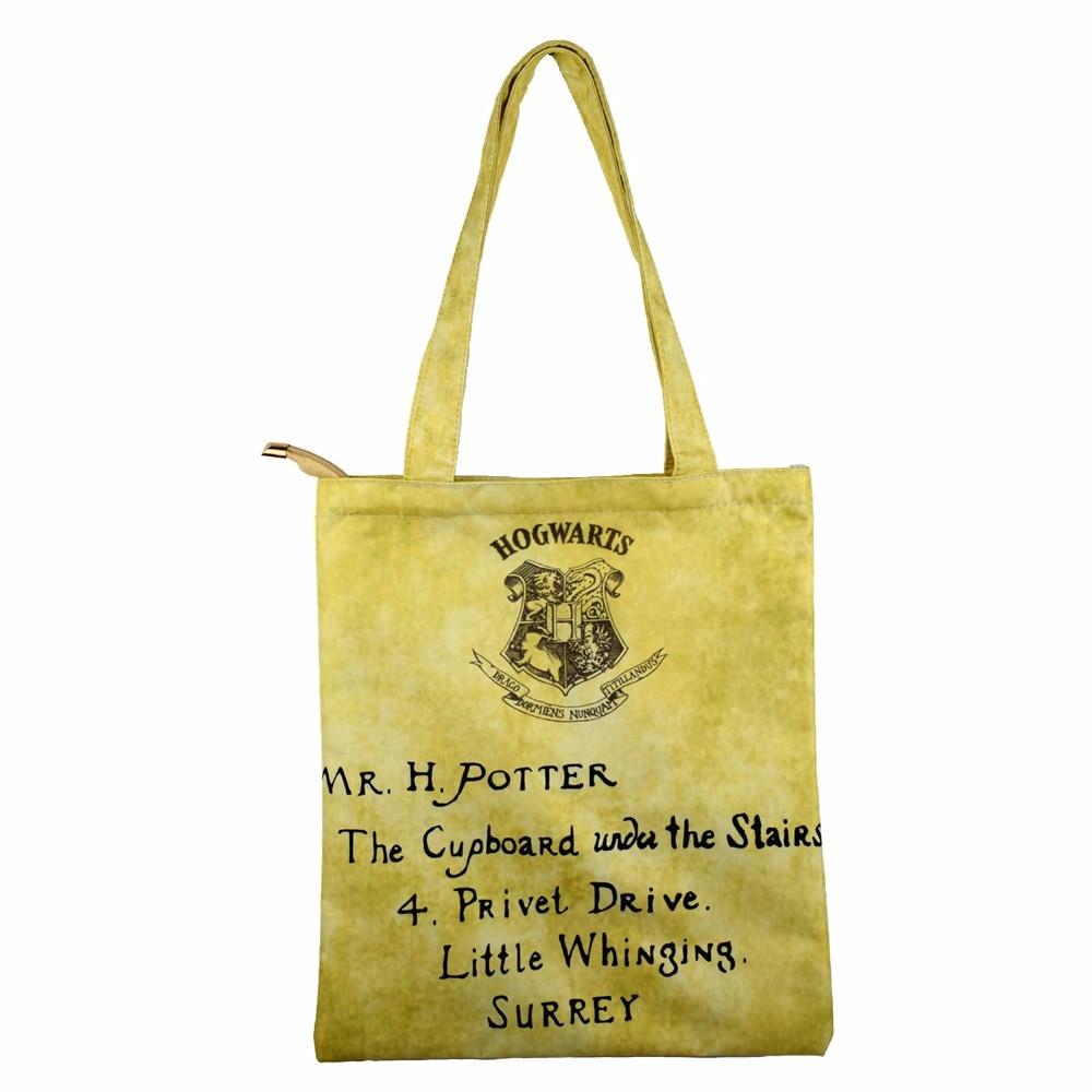Classic Design Women Shopping Bag Harry Potter Letter Handbag Casual Tote With Zipper Pocket Fashion