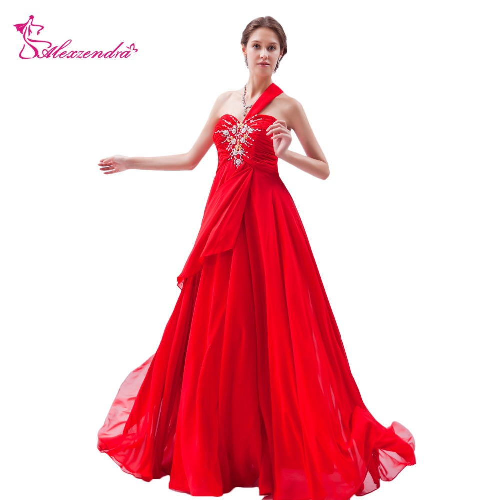 Alexzendra Red Chiffon Beads Pleats One Shoulder A Line Long Pregnant   Prom     Dresses   Party   Dress   Special Party Gowns