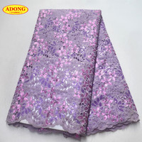 ADONG African Lace Fabric Beautiful High Quality France organza lace fabric with sequins beads For women wedding dress Party