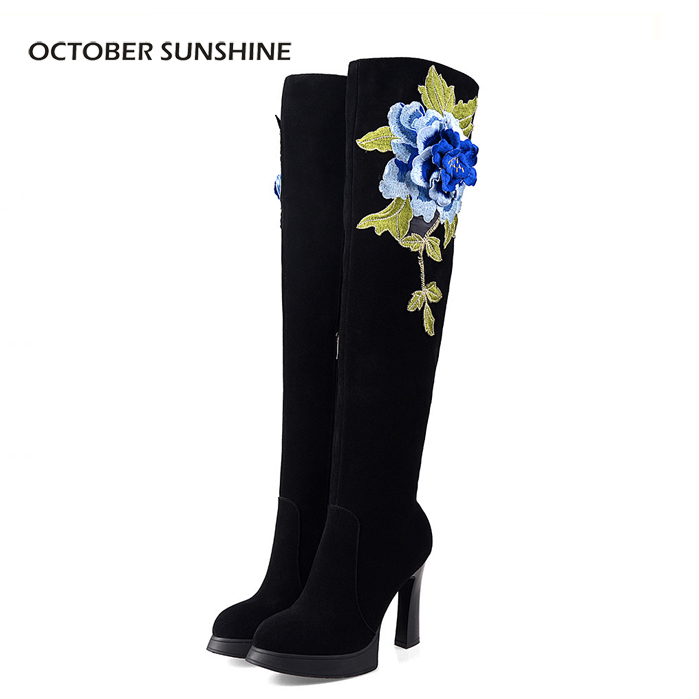 OCTOBER SUNSHINE Autumn winter Nubuck Leather fashion flowers ladies sexy over Knee boots High heels long boots for women yougolun ladies fashion thigh high over the knee boots woman autumn winter womens female sexy nubuck suede leather women shoes