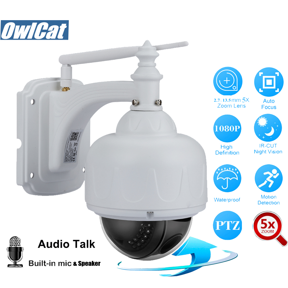 HD 1080P Dome PTZ IP Camera Wifi Outdoor 5X Zoom Auto Focus 2.0MP Audio Security CCTV Wifi Camera Waterproof IR ONVIF2.4 SD Slot owlcat hd 1080p indoor dome ptz ip camera wifi 5x auto focus zoom 2 7 13 5m lens audio microphone 2 0mp sd slot wifi cctv camera
