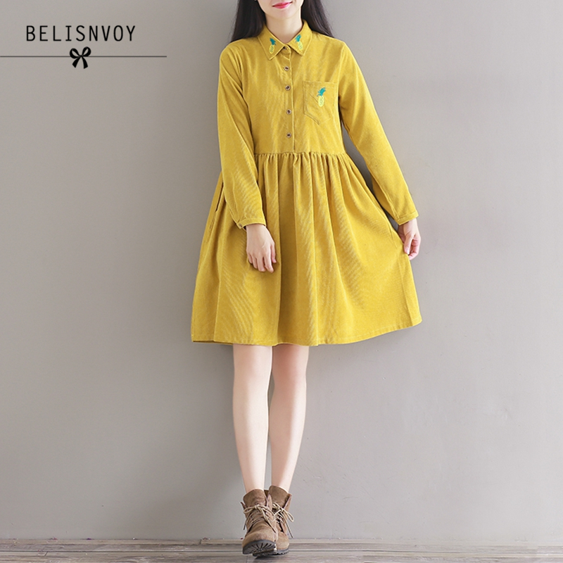 2018 New Spring Autumn Women Clothing Preppy Vintage Solid Long Sleeve  Pineapple Embroidery Plus Size Corduroy Dress Mori Girl-in Dresses from  Women s ... a6e78c2404de