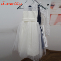 Real Image White/Ivory A-line Flower Girls Dresses Sleeveless Scoop Neck Tulle with Lace Bow Back Lovely Baby Girls Party Dress