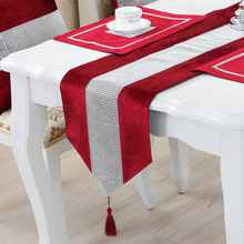 Wedding Table Runner Luxury Europe Style Runners for Party Flannel Sequin Flag Christmas Decor